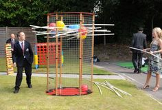 Giant Kerplunk and more giant outdoor games. Using 6' poles