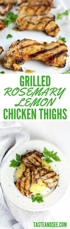 Grilled Rosemary Lemon #Chicken Thighs – marinated in lemon ...