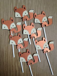 Set Of 12 Fox Cupcake Toppers,Birthday,Baby Shower,Forest Friends,Fox,Fawn, Owl,Squirrel,Raccoon,Skunk,Hedgehog,Beaver. $11.99, via Etsy.