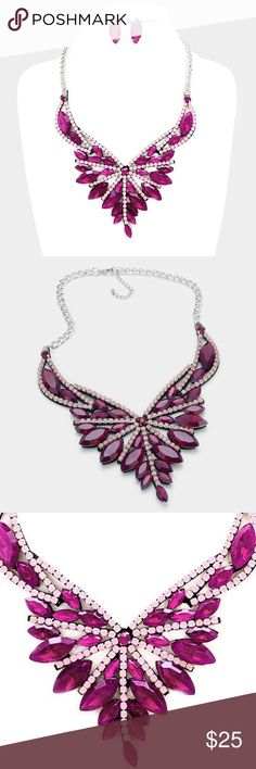 """Crystal Statement Necklace Set • Necklace Size : 18"""" + 2"""" L • Decor Size : 3"""" L • Earrings Size : 1.2"""" L • Felt back marquise crystal rhinestone statement evening necklace Jewelry Necklaces"""