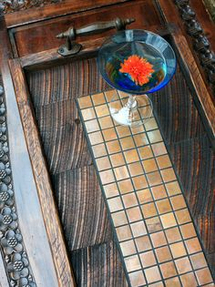 Serving Tray, Copper Mosaic Centerpiece, Reclaimed Wood, Rustic Contemporary, Dark Brown Finish, 13 x 24 - Handmade on Etsy, $275.00