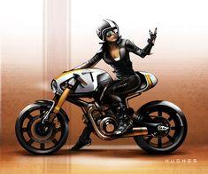 - by Aaron Hughes Futuristic Motorcycle, Motorcycle Design, Motorcycle Style, Bike Design, Cg 125 Cafe Racer, Samurai Warrior Tattoo, Bmw Motors, Bike Drawing, Stunt Bike