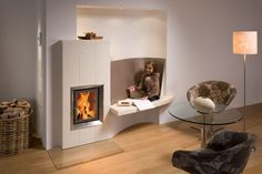 Modern tiled stoves give your home style and coziness - Decoration Solutions Home Appliances, Home Hacks, Home, House Styles, Modern, Modern Stoves, Stove, Fireplace, Living Room Designs