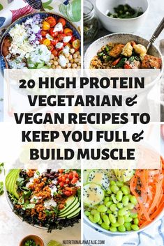 This list of easy high protein vegetarian and vegan recipes will keep you full and help build muscle. It has plenty of options for lunch and dinner! These healthy plant-based meatless meals are yummy and nutritious! #highprotein #vegetarianrecipes #veganrecipes #easymeals #easyrecipes #musclebuilding Tempeh, Tofu, High Protein Vegetarian Recipes, Low Carb Vegetarian Recipes, Healthy High Protein Meals, High Protein Dinner, Dinner Healthy, Nutritious Food Recipes, Recipes For Vegetarians