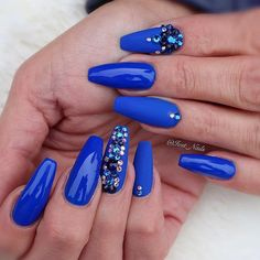 Stones Design For Royalty Blue Coffin Nails ❤ 40+ Magnificent Coffin Nails Designs You Must Try ❤ See more ideas on our blog!! #naildesignsjournal #nails #nailart #naildesigns #nailshapes #coffinnails #ballerinanailshape Dot Nail Designs, Cute Nail Art Designs, Simple Nail Designs, Nails Design, Chic Nails, Classy Nails, Simple Nails, Blue Coffin Nails, Coffin Shape Nails