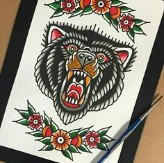 about Traditional Bear Tattoo on Pinterest | Traditional tattoo flash ...