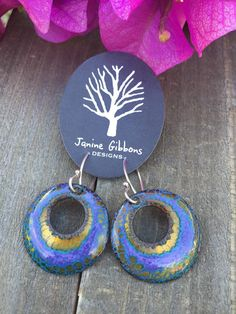 Enamel Round with cutout Earrings. Sterling silver hook. Handmade. 1 x 1 3/4.