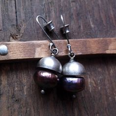 FIFTY FIFTY, freshwater pearl, natural pearl, pearl half sphere, sterling silver, silver half sphere, pearl earrings, dangle earrings by pieceofmysoulArt on Etsy