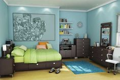 robin's egg blue bedroom w/ lime green comforter, orange pillows. dark stained furniture