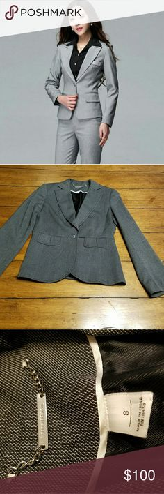 WHBM - Gray Suit Fab suit by White Hlouse Black Market. Jacket has one button closure, and is a size 8. Pants have no belt loops and is a size 10. Both pieces are in excellent condition.  No flaws.   Bundle and save.  Entire closet bogo 50% off or use the offer button.  I'm a suggested user and ship Mondays Wednesdays and Fridays.  If you have any questions lmk.  :) White House Black Market Jackets & Coats Blazers