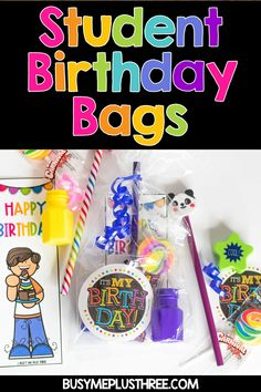 Students love to celebrate their birthday at school! If you are like me, fellow teacher, you love to give students gifts on their special day. I want to share with you some DIY ideas and printables for students. A birthday bag is the perfect gift for ki Classroom Birthday Gifts, Student Birthday Gifts, Preschool Birthday, Birthday Bag, Student Gifts, Teacher Gifts, School Birthday Treats, Student Teacher, Special Education Classroom