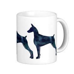 Doberman Pinscher Geometric Black Silhouette Classic White Coffee Mug