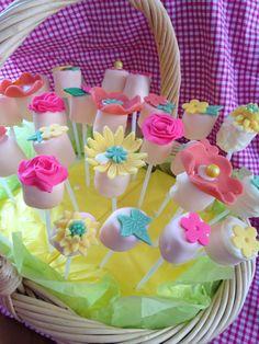 Marsmallow Pops Flower bouquet  in a basket.