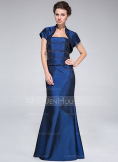Trumpet/Mermaid Strapless Floor-Length Taffeta Mother of the Bride Dress With Beading (008025373)