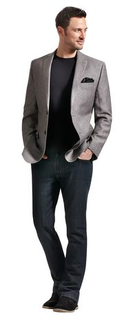 Calvin Klein sport coat in grey herringbone. Grafton 1853 t-shirt in black. Britches denim - all available at Tip Top