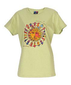 Look at this #zulilyfind! Pistachio & Orange Harmony Under the Sun Short-Sleeve Tee by Laurel Burch #zulilyfinds