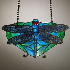Lamp screen, c. Tiffany Studios, New York, 6 x 10 in. Leaded Glass, Mosaic Glass, Fused Glass, Stained Glass, Louis Comfort Tiffany, Damselflies, Tiffany Glass, Glass Design, American Artists