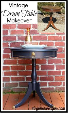 A vintage drum table gets a makeover with paint.  It looks fabulous now!  virginiasweetpea.com