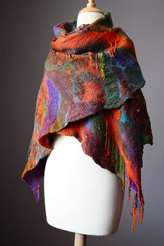 Large nuno felted scarf / shawl wool silk cotton VitalTemptation