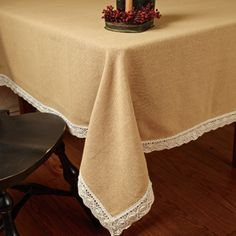 Use burlap in a new role: pretty and practical DIY tablecloths Burlap Tablecloth, Tablecloths, Burlap Crafts, Country Primitive, My Dream Home, Blanket, Pretty, Fabric, Pattern