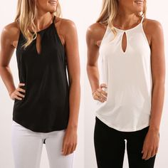 fbdbeea280318 Fashion Women Summer Vest Top Sleeveless Shirt Blouse Casual Tank Tops T- Shirt (Black