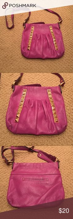 B Makowsky purple studded bag Purple bag! Has studs on the front as well as a pocket in the front. Has a zipper pocket on the inside. 8.5 length 9.5 wide. From top of top of strap to bottom of bag 30 in B Makowsky Bags Crossbody Bags
