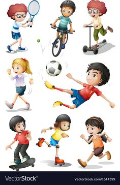 Kids engaging in different sports activities Vector Image , Sports Day, Kids Sports, Sports Activities, Activities For Kids, Avatar Cartoon, Classroom Board, Free To Use Images, Different Sports, Art Drawings For Kids