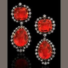 A pair of early 19th century fire opal and diamond earrings