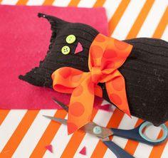 halloween decorations craft black cat sock, crafts, seasonal holiday decor