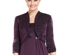 Mother of the Bride - like the style but not fabric  Le Bos Textured Chiffon Faux-Wrap Dress and Jacket - Mother of the Bride - Women - Macy's