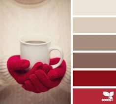 winter hues - have the red in my bathroom curtain. the light brown would be a good wall colour