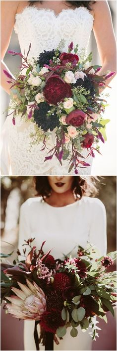 Top one is ideal bouquets for Fall / Winter Wedding with burgundy/navy color scheme