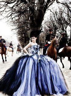 Kristen Stewart by Mario Testino forVanity Fair (July 2012). Christian Dior Haute Couturedress.