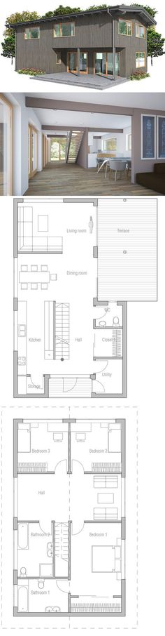 Small & Affordable Narrow House to small lot. Floor Plan from ConceptHome.com