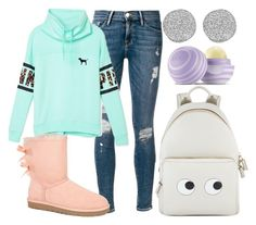 """""""Can I Sleep More?"""" by owls-are-awesome ❤ liked on Polyvore featuring Frame Denim, Victoria's Secret PINK, UGG Australia, Anya Hindmarch, Karen Kane and Eos"""