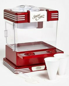 We love the look of this retro snow cone maker! Get it here: http://www.bhg.com/shop/nostalgia-electrics-retro-series-snow-cone-maker-p525d107fe4b0bb3e3130bb68.html