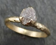 Raw Diamond Engagement Ring Rough Uncut Diamond Solitaire Recycled 14k gold Conflict Free Diamond Wedding Promise byAngeline 0411