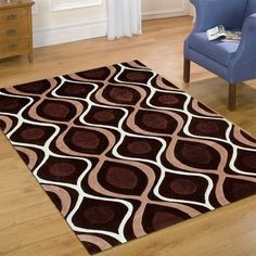 """AllStar Rugs Chocolate Hand Made Linear Design Area Rug with Dimensional Hand-Carving Highlights. Size: 4'11"""" x 6'11"""""""