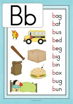 Phonics Letter of the Week Bb {FREE}. A HUGE unit pages) with all that you need for a letter of the week curriculum. A page from the unit: CVC beginning sounds poster Alphabet Phonics, Phonics Words, Cvc Words, Alphabet Activities, Literacy Activities, Alphabet Posters, Teaching Phonics, Kindergarten Literacy, Preschool Learning