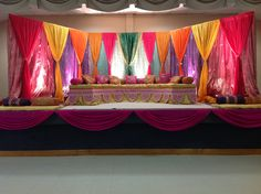 Sangeet wedding decor.  Also great for Garba decor,  Indian wedding decor by Alankar in Massachusetts. #shaadibazaar #love #wedding Punjabi Wedding, Desi Wedding, Wedding Stage, Wedding Halls, Wedding Blue, Wedding Night, Stage Decorations, Indian Wedding Decorations, Indian Weddings