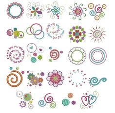 Dots Doodles Swirls Machine Embroidery Designs | Designs by JuJu