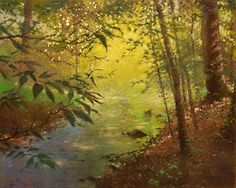 """Morning Song by Frederick Somers Pastel on Canson with 22 ct. gold leaf ~ 16"""" x 20"""""""