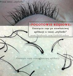 Eyelashes extensions gone wrong !  Target - remove lashes   Usuwanie rzęs niewłaściwie założonych przez inną stylistkę.