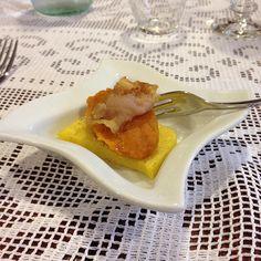 Polenta con crema di zucca e pancetta
