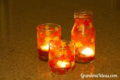 Kids love making these stained glass votives.