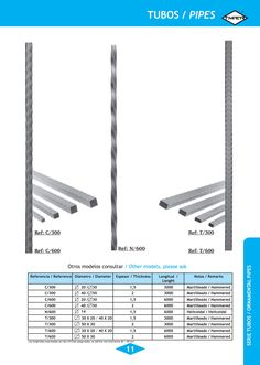 Tubo Ornamental hierro CUADRADOS Y RECTANGULARES modelos: N/600, C/600 y T/600 Ornamental Iron Pipes SQUARE AND RECTANGULAR models: N/600, C/600 and T/600