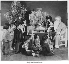 """WWII Japanese American Internment History Page """"Santa Claus"""" visits children at the Minidoka Internment Camp in 1944. Many Alaska-Japanese families spent the war in this particular camp."""