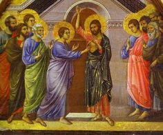 "Duccio di Buoninsegna  Doubting Thomas  1308 - 11  Tempera on Wood  Museo dell'Opera del duomo    고대로마의 작품은 아니지만  시대적으로 상반되는 interpretation과 표현방법을 보여주기 위해서 올렸습니다.  이 작품에서는 성인들의 머리에만 그려주는 Halo ""할로""가 쓰였습니다. Tempera의 색의 변화때문에 현재 많이 변색되었디만, 그때 당시의 화려한 색채감을 조금이나마 느낄 수 있습니다."