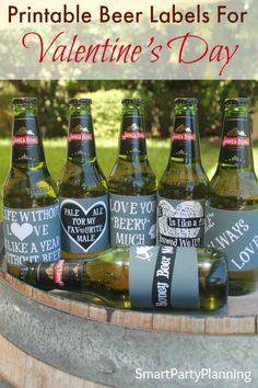 Set of 6 printable beer labels in chalk board design, perfect for Valentines Day. A gift of more than just beer!