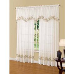 Cavalier Lace Scalloped Valance, Beige